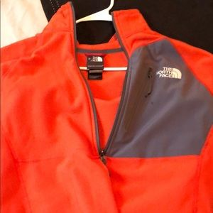 Orange north face fleece size medium